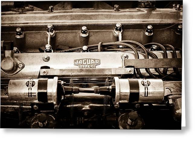 Jaguar Type C Engine Greeting Card by Jill Reger