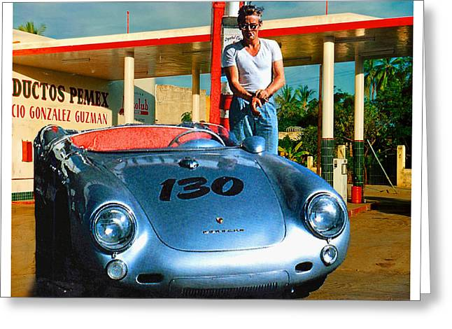 James Dean Filling His Spyder With Gas Greeting Card