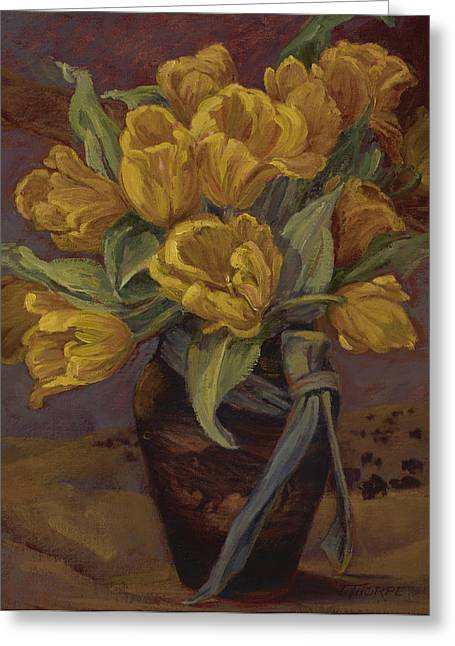 Yellow Tulips- And Buffalo Dreams Greeting Card