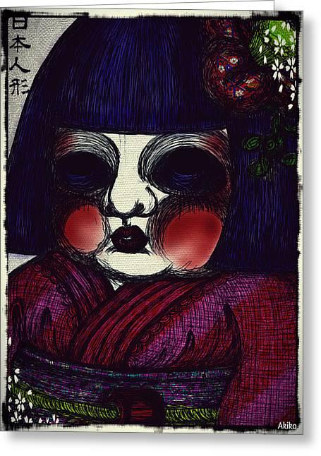 Japanese Doll Greeting Card by Akiko Okabe