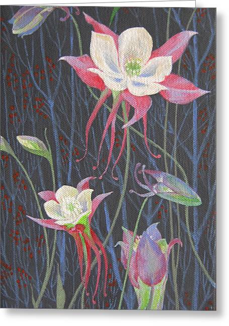 Greeting Card featuring the painting Japanese Flowers by Marina Gnetetsky
