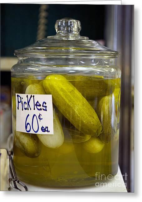 Jar Of Pickles Greeting Card by Iris Richardson