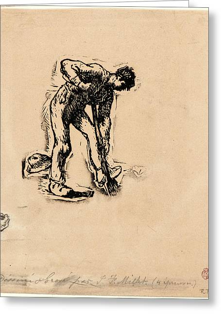 Jean-françois Millet French, 1814 - 1875. Peasant Digging Greeting Card by Litz Collection