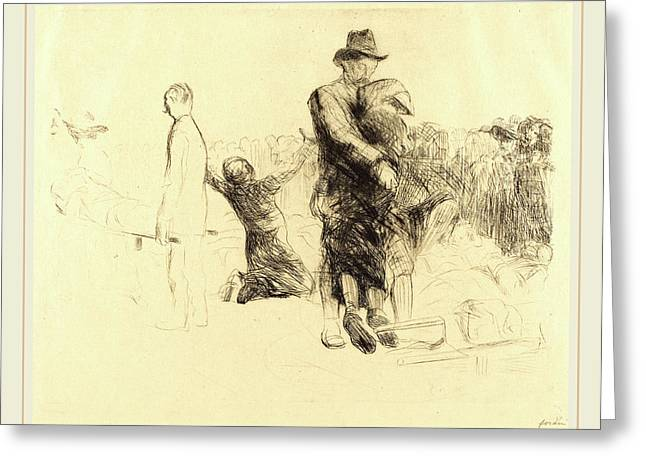 Jean-louis Forain, Lourdes, Transport Of The Paralyzed Greeting Card by Litz Collection