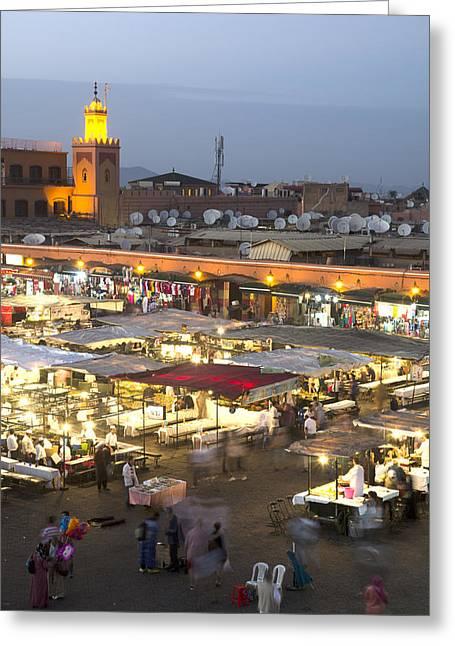 Jemaa El Fna At Dusk Marrakech Morocco Greeting Card by Martin Turzak