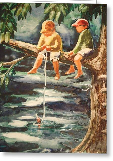 Jes Fishin Greeting Card by Marilyn Jacobson