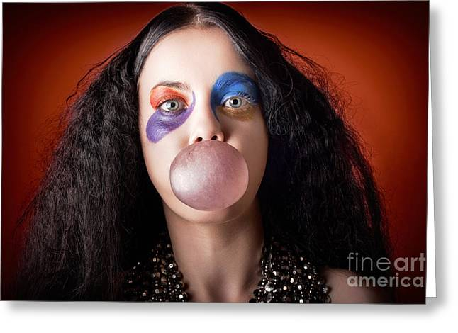 Jester Girl Blowing Bubblegum Ball Greeting Card by Jorgo Photography - Wall Art Gallery