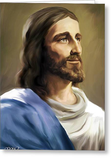 Jesus Face Greeting Card by Mark Spears