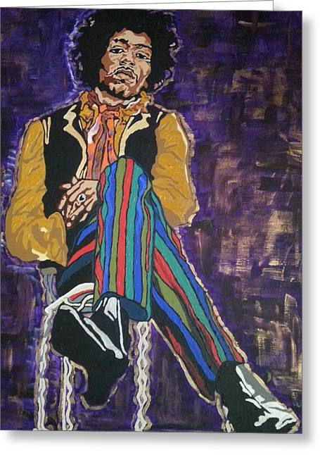 Greeting Card featuring the painting Jimi Hendrix by Rachel Natalie Rawlins