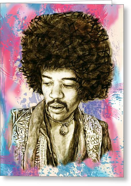 Jimi Hendrix Stylised Pop Art Drawing Potrait Poster Greeting Card by Kim Wang