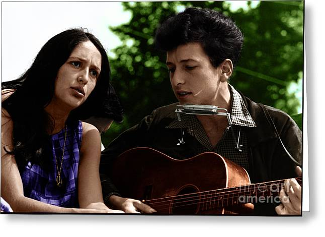 Joan Baez With Bob Dylan Greeting Card by Celestial Images