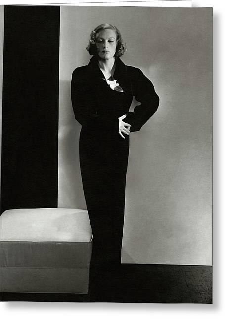 Joan Crawford Wearing A Schiaparelli Dress Greeting Card by Edward Steichen