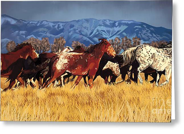 Greeting Card featuring the painting Joe's Horses by Tim Gilliland