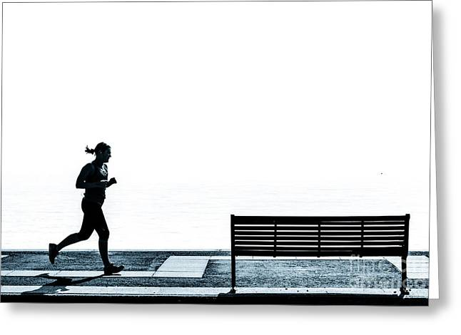 Jogging On The Prom. Greeting Card by Peter Noyce