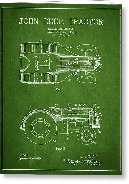 John Deer Tractor Patent Drawing From 1932 - Navy Blue Greeting Card by Aged Pixel