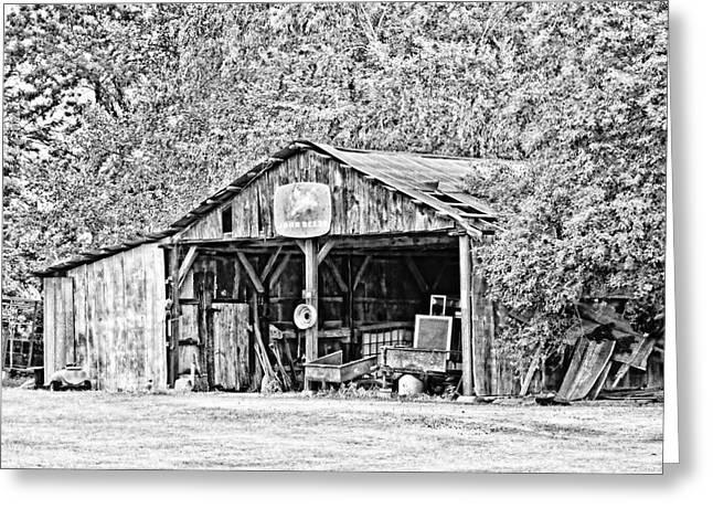 John Deere Barn Greeting Card by Scott Pellegrin