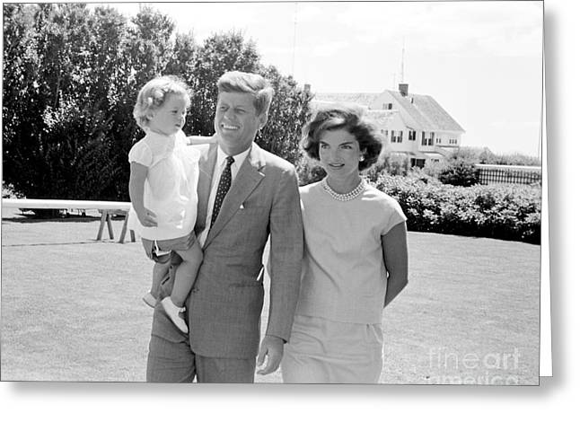 John F. Kennedy With Jacqueline And Caroline 1959 Greeting Card