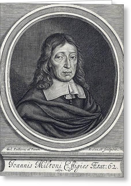 John Milton, English Poet Greeting Card by Folger Shakespeare Library