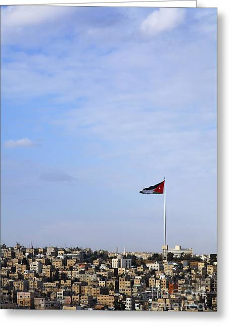 Jordanian Flag Flying Over The City Of Amman Jordan Greeting Card by Robert Preston