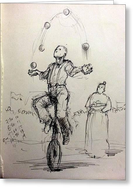 Juggler Greeting Card by H James Hoff