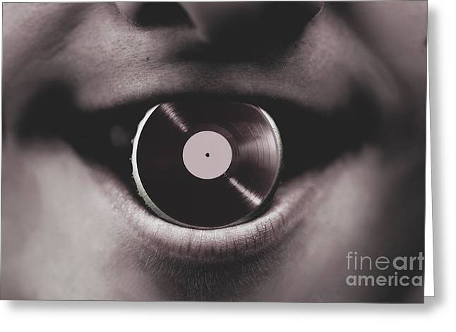 Jukebox Dj Holding Vinyl Soda Bottle Lid In Mouth Greeting Card by Jorgo Photography - Wall Art Gallery
