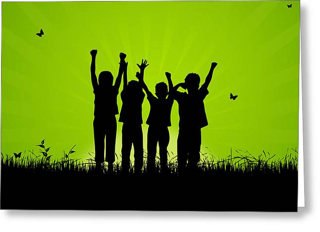 Jumping Kids Greeting Card by Aged Pixel