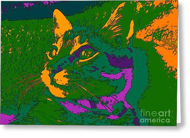 Greeting Card featuring the digital art Jungle Cat by Hanza Turgul