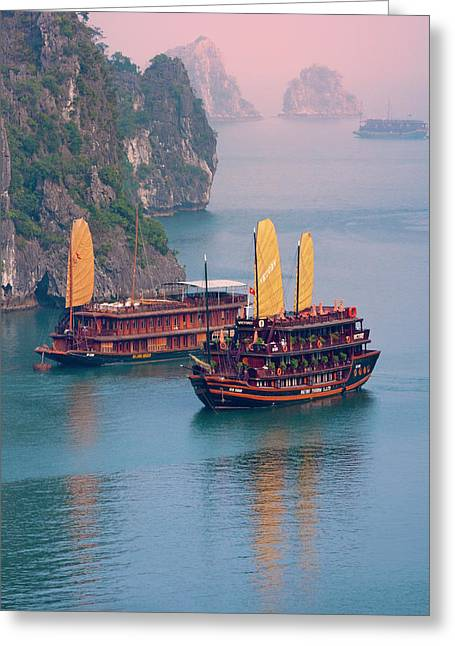 Junk Boat And Karst Islands In Halong Greeting Card