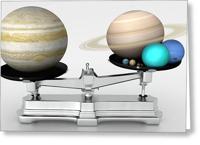 Jupiter Mass Compared With Other Planets Greeting Card