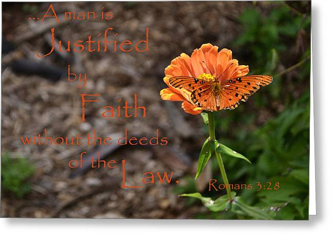 Justified By Faith Greeting Card by Larry Bishop