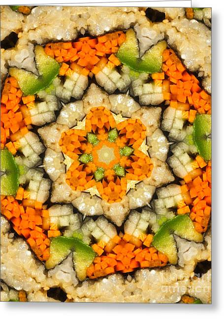 Kaleidoscope Vegetable Sushi Greeting Card by Amy Cicconi