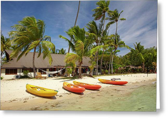 Kayak On The Beach, And Waterfront Greeting Card