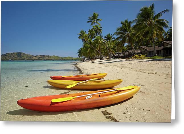 Kayaks On The Beach, Plantation Island Greeting Card