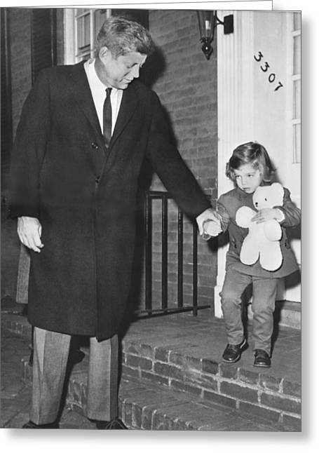 Kennedy And Daughter Caroline Greeting Card