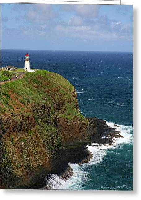 Kilauea Lighthouse Located On Kilauea Greeting Card by David R. Frazier