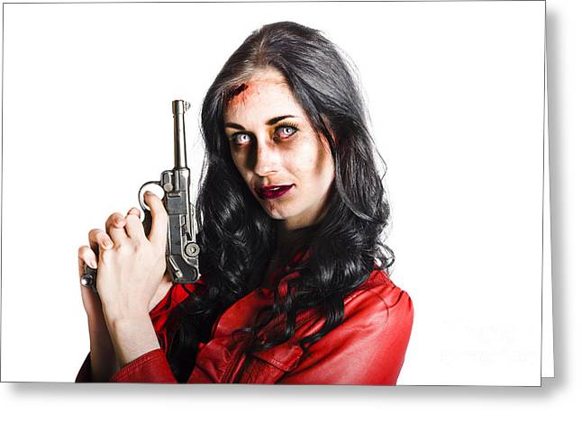 Killer Female Zombie With Hand Pistol Greeting Card by Jorgo Photography - Wall Art Gallery