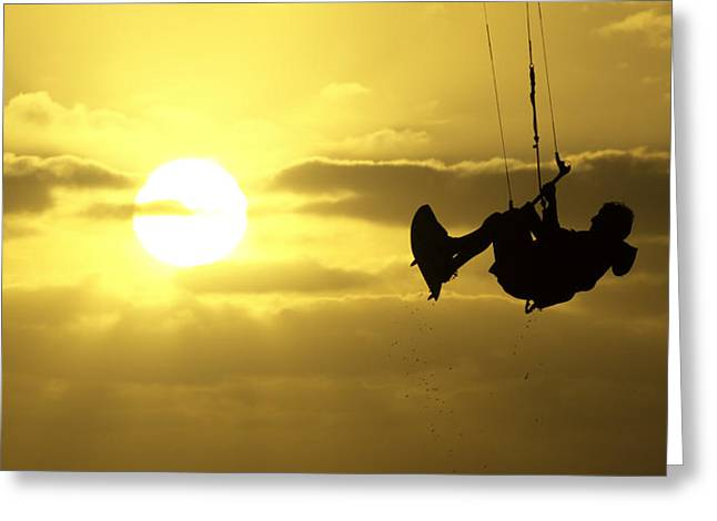 Kite Boarding At Sunset Greeting Card by Jay Droggitis