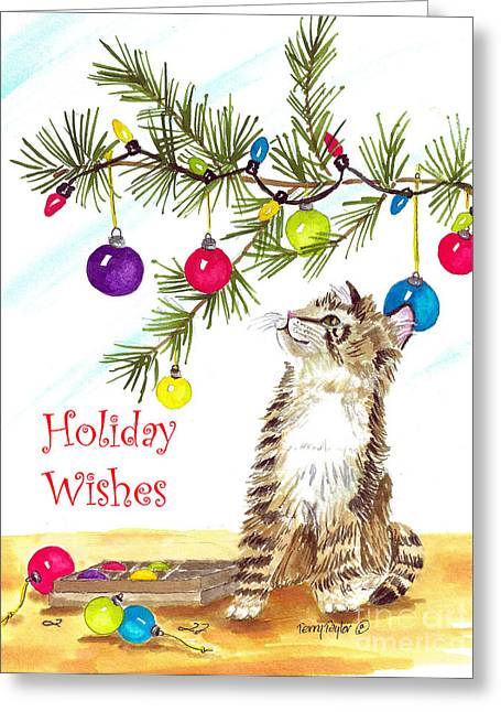 Kitten's First Christmas Greeting Card by Terry Taylor