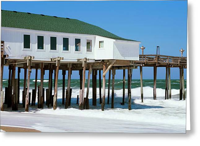 Kitty Hawk Pier On The Beach, Kitty Greeting Card by Panoramic Images