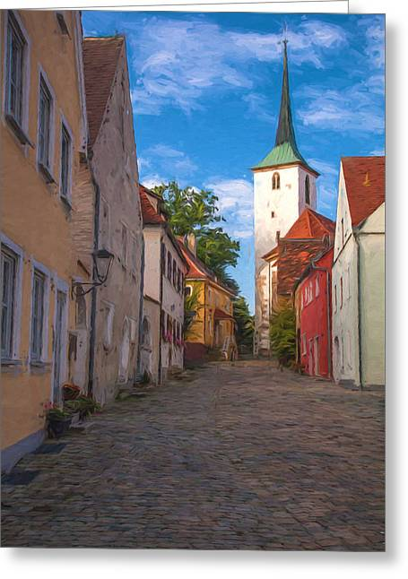 Klostergasse Vilseck Greeting Card by Shirley Radabaugh