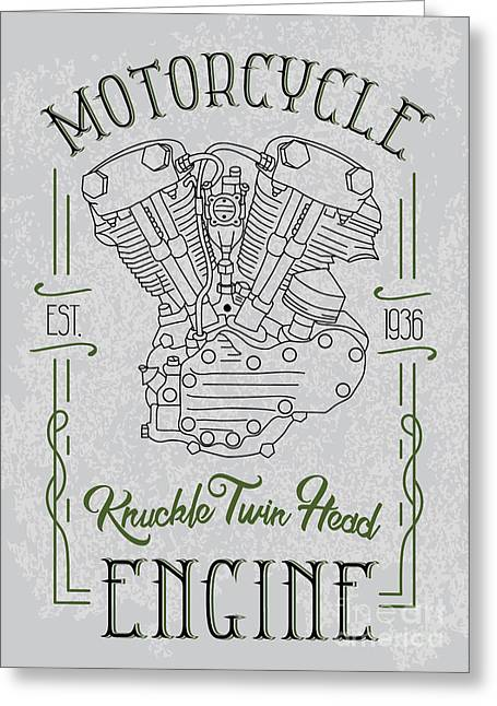 Knuckle Twin Head Motorcycle Engine Greeting Card by Sergj