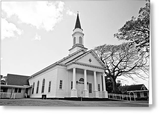 Koloa Church - Bw Greeting Card