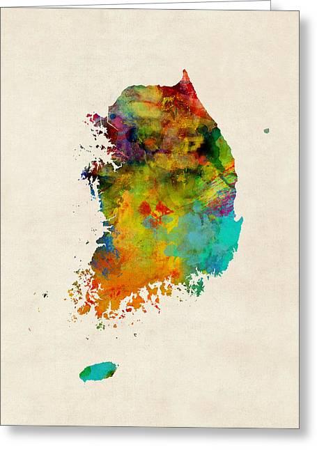 Korea Watercolor Map Greeting Card