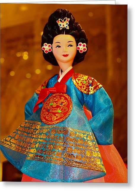 Korean Doll Greeting Card by Goy Tex