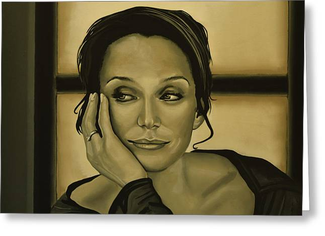 Kristin Scott Thomas Greeting Card by Paul Meijering