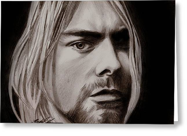 Kurt Cobain Greeting Card by Michael Mestas