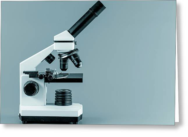 Laboratory Microscope Greeting Card by Wladimir Bulgar