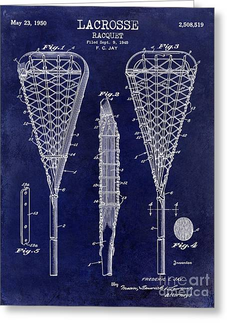 Lacrosse Racquet Patent Drawing Greeting Card by Jon Neidert