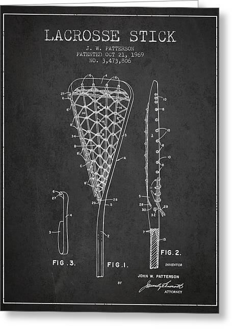 Lacrosse Stick Patent From 1970 -  Charcoal Greeting Card