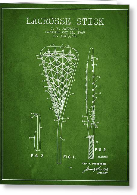 Lacrosse Stick Patent From 1970 -  Green Greeting Card by Aged Pixel